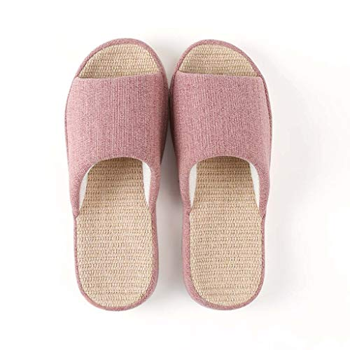 Neutraal Huis Slippers, Indoor En Outdoor Anti-Slip Ademend Deodorant Antibacteriële Slippers Vlas Slippers 2.5-7,Pink,EU35/36 UK2.5/3.5