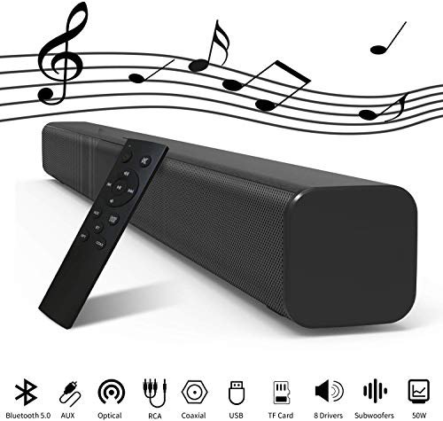 DBGS 32-inch TV Soundbar met ingebouwde subwoofers, 8 drivers Bluetooth 5.0 Speaker Bedraad en draadloos 3D Surround Stereo Sound Bar, Wall Mountable, Afstandsbediening