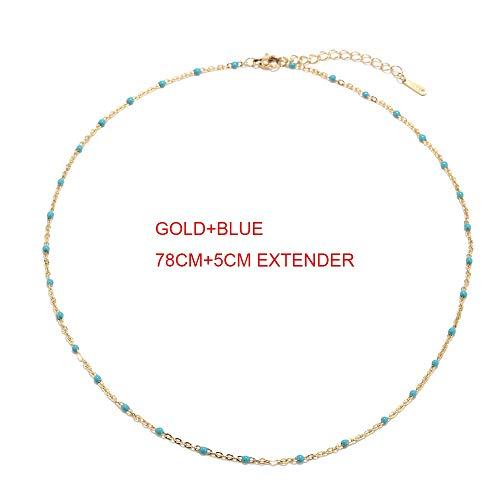 Dfgh 1pcs RVS Gold/Silver Choker Ketting Enamel Satellite Kralen kabel Ball Chain Choker Womens Kettingen (Metal Color : GOLD BLUE)