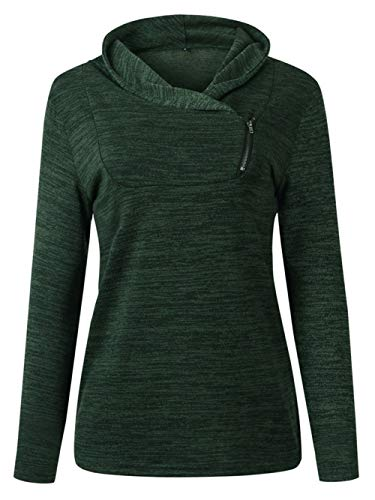 Vrouwen Tops Unisex V-hals T-shirt Vrouw Lange mouwen coltrui Zipper Fles Pullove All-Over (Color : Green, Size : L)