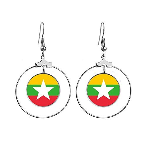 Myanmar Nationale Vlag Azië Land Oorbellen Dangle Hoop Sieraden Drop Cirkel