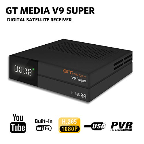 GT Media V9 Super DVB S2 Satelite Ricevitore Decodificador Oficial Freesat Digital TV Sat Receptor Soporte H.265 1080P Full HD CCcam Newcam IPTV Youtube PVR PowerVu Biss chiave, con WiFi Incorporado …