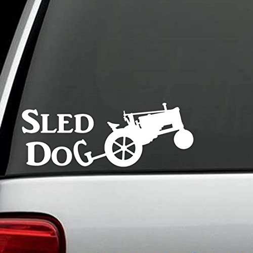 Muurtattoo slaapkamer antieke tractor slee hond decal sticker die cut decal stickers voor Windows, auto's, vrachtwagens, laptops, enz.