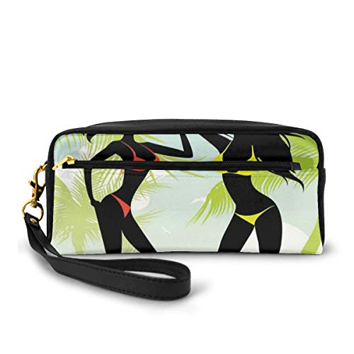 Pencil Case Pen Bag Pouch Stationair, Silhouette Van Twee Meisjes Op Het Strand Met Bikini In Tropisch Eiland Palmbomen, Kleine Make-up Bag Coin Purse
