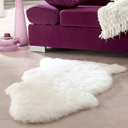 HHOME Super Soft Faux Sheepskin Washable Carpet Warm Hairy Seat Pad Fluffy Rugs Faux Fur Mats For Floor Chairs Sofas Cushions 60x40cm,White