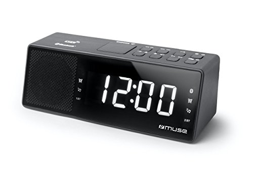 Muse M-172 BT Horlogeradio met Bluetooth, USB-poort en oplaadfunctie (Bluetooth, NFC, USB, AUX-In, PLL FM-radio, LED-display, 20 zendergeheugen, Sleep, Snooze) zwart