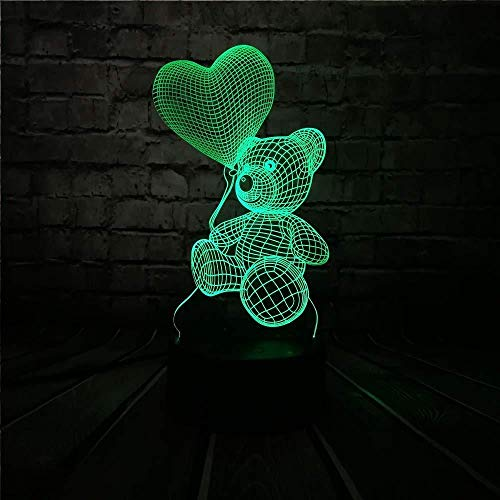Desk Decorations Night Light Baby Teddy Bear Home Love Heart Balloon 3D USB Led Night Table Lamp Light Home Home Home Home Home Home Home Home Kids Toy Christmas GIF T by My Side with Remote Control