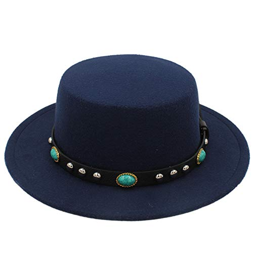 XueQing Pan Winter wolvilt Fedora Hoeden for mannen Vintage Black Godfather Mans herfst Round Top Fashion Pork Pie Hat Ribbon (Color : Blue, Size : 56-58cm)