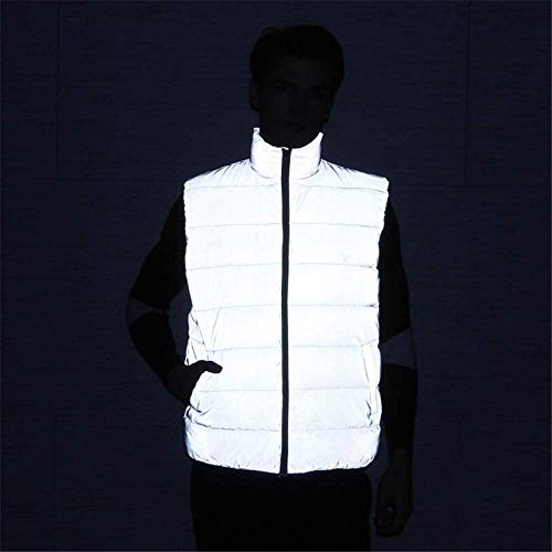 Paar Safety Vesten Heren High Visibility Vest Reflecterende High Security inzicht Zipper omlaag Cotton Warm Vest Sports Riding Night Run M-3XL XMJ (Size : M)