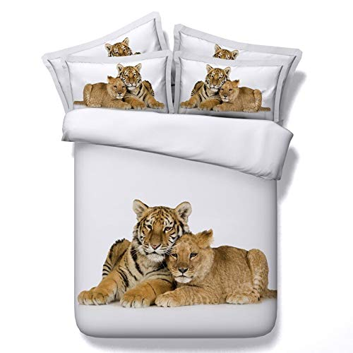 Qiutian Tiger Head Print Beddengoed op 3D dekbedovertrek in pocket dekbedovertrek groot tweepersoonsbed vol tweelingen 160x210cm Tiger Bedding sets