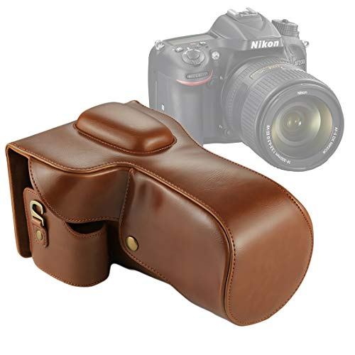 QIAOZHOO Full Body Camera PU Leather Case tas for Nikon D7200 / D7100 / D7000 (18-200/18-140mm lens) (zwart) (Color : Brown)