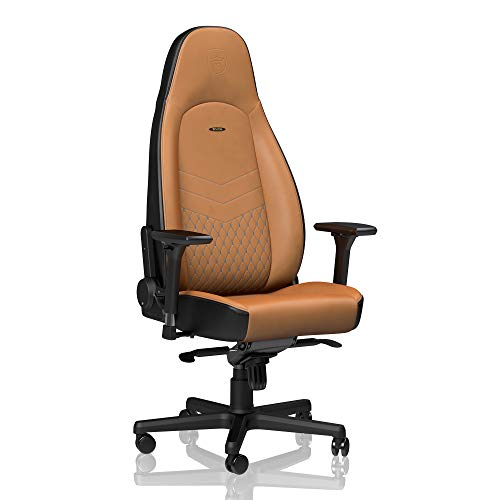 noblechairs ICON Gaming Stoel - Bureaustoel - Gaming Chair - Authentiek leer - Inclusief kussens - Cognac/Zwart