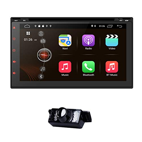 In Dash Navigation Android 9.0 Car DVD-speler Head Unit Universal Double Din 7 inch Car Stereo Support GPS WiFi DAB + Android/iPhone Mirrolink Steering Wheel Control Reverse Camera