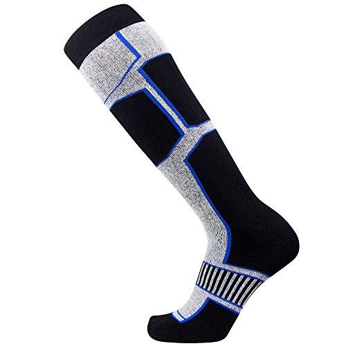 Pure Athlete Snowboard Socks - Comfortable Warm Outdoor Socks for Skiing and Snowboarding - Warm Board Socks, Ski Socks for Men and Women (Black-White-Blue, Medium)