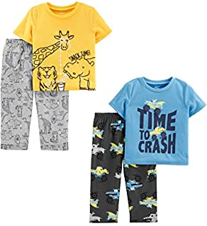 Image of Fun Short Sleeve Monster Trucks an Animal Pajamas Sets for Toddler Boys - 2 Pack