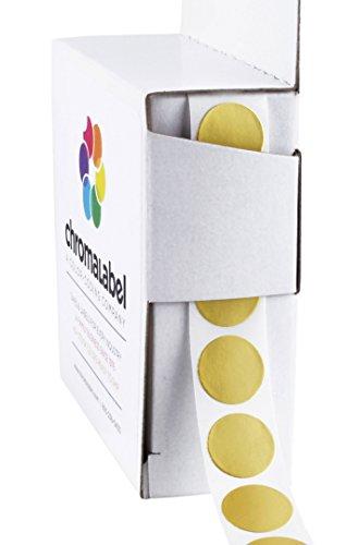 ChromaLabel 1/2 Inch Round Permanent Color-Code Dot Stickers, 1000 per Dispenser Box, Metallic Gold