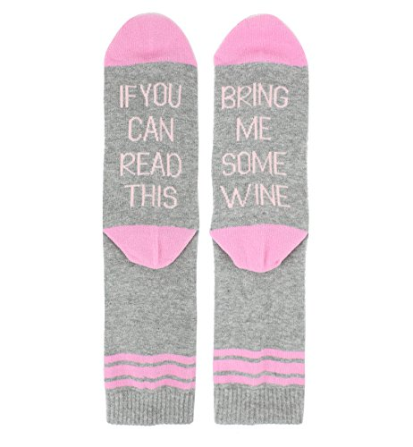 Novelty Fun Wine Crew Socks for Women Sister, If You Can Read This Funny Saying Cotton Socks