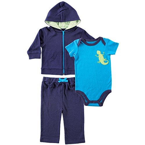 Yoga Sprout Baby 3 Piece Jacket, Top and Pant Set, Navy/Lime, 9-12 Months (12M)