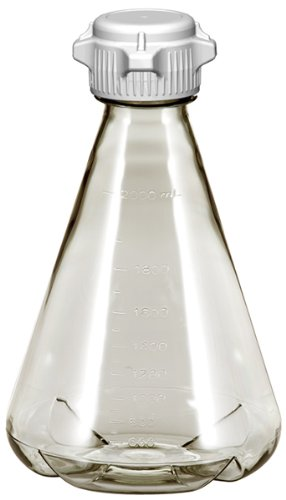 Sterile Plastic Erlenmeyer Flasks for Cell Culture and Fermentation, 2L, Autoclavable Polycarbonate (PC), 53mm (53B) VersaCap, Baffled Bottom (Pack of 6)
