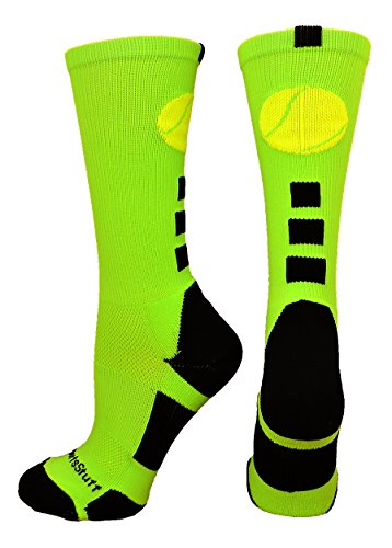 MadSportsStuff Tennis Logo Athletic Crew Socks (Neon Green/Black, Medium)