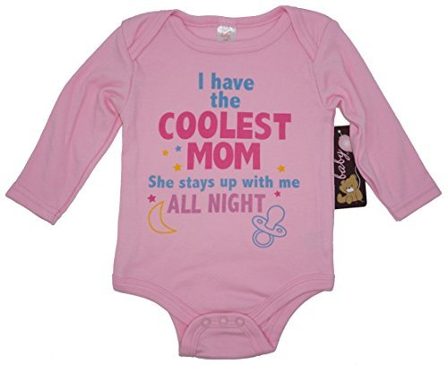 I Have The Coolest Mom Long Sleeve Funny Baby Girl Novelty Infant One Piece Novelty Bodysuit.