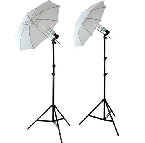 2 x 33 Inch Studio Lusana White Light Kit LED Lighting Reflector Umbrella Photography Stand Tripod