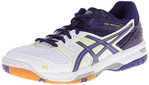 ASICS Women's Gel Rocket 7 Volley Ball Shoe,White/Lavender/Purple,10 M US