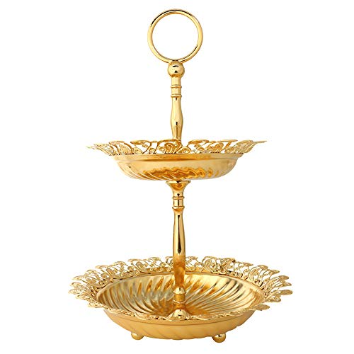 2 Tiered Fruit Plates Bowls Cupcake Stands Serving Trays Platters Tabletop Centerpiece with Golden Metal Handle Stunning Sturdy for Party Wedding Birthday Home Decor and Gift Giving - Round Lace Edge