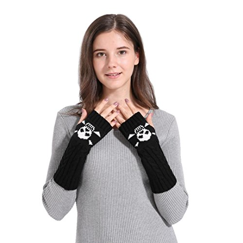 Kanhan Girls Woman Winter Warm Knitted Long Wrist Arm Hand Warm Fingerless Gloves Mittens (Black)