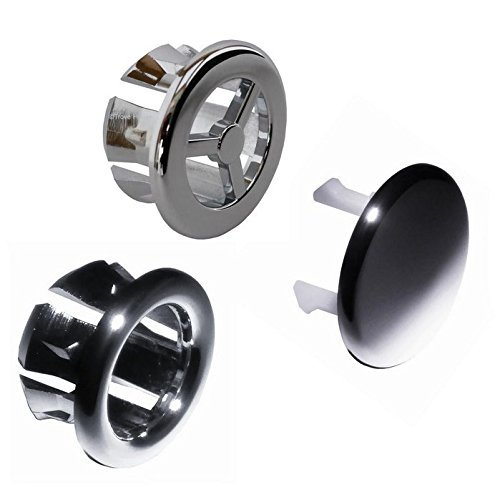 LWD 3 pcs Overflow Cap for Bathroom Kitchen Vanity Basin Sink Hole Round Overflow Cover Basin Tidy Insert Spares
