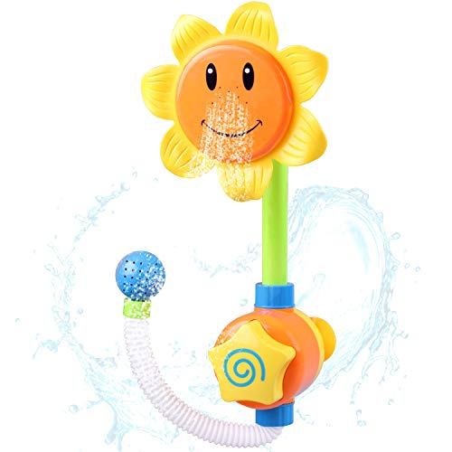 iPlay, iLearn Sunflower Water Spout, Fountain, Spraying Baby Bath Toy, Shower & Bathtub, Kids Bath Time Game, Swimming Pool, Birthday Gift for 2, 3, 4, 5 Years, Toddlers, Boys & Girls