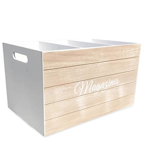 Whole House Worlds The Farmers Market MAGAZINES Rack, Hold All, Caddy, Florals, and More, Modern Milk Crate Style, White Stain, Distressed Shiplap Wood, 15 ¼ L x 9 ¾ W x 8 ¾ H Inches, by