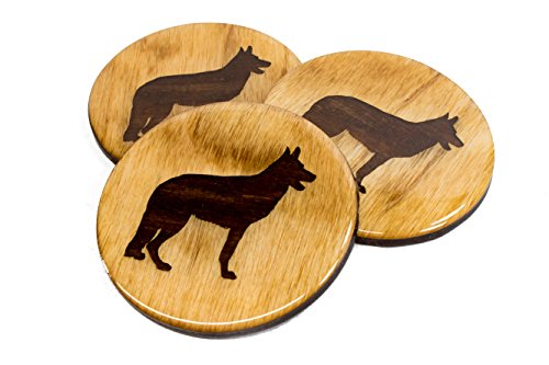 "Premium German Shepherd GSD Coaster - 4 Fun Handmade Engraved 3.5"" Round Wooden Natural Home Animal"