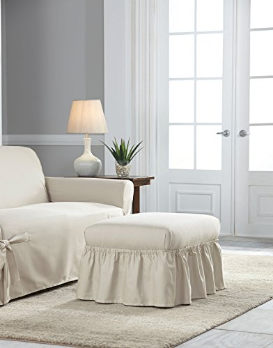 Serta Relaxed Fit Duck Slipcover Box Cushion Chair & Ottoman Set, Natural, 2 Piece