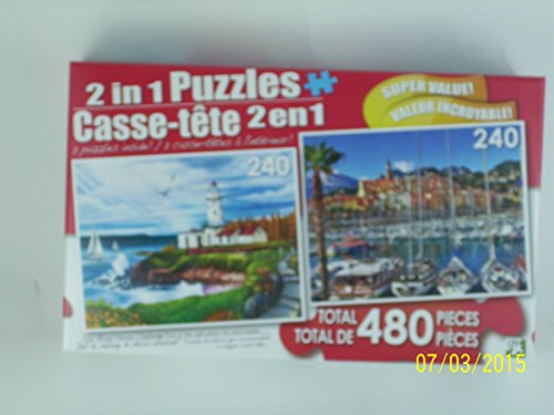 Puzzle 2 in 1 Amazingly Fun Mixed Pieces Challenge for All Ages (Lighthouse Cove & Colorful Port Town of Menton)