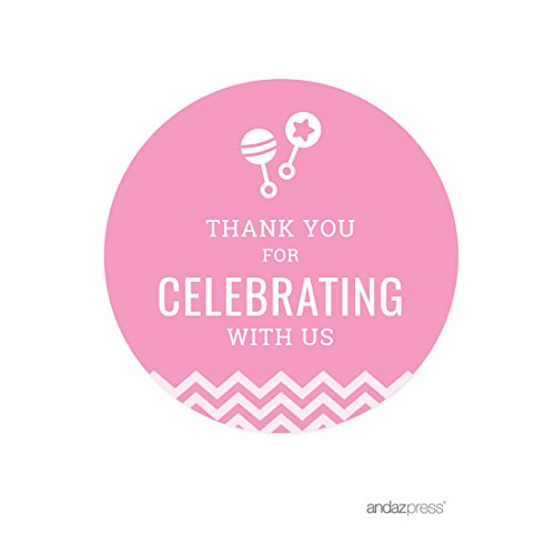 Andaz Press Pink Chevron Girl Baby Shower Collection, Round Circle Label Stickers, Thank You for Celebrating with US!, 40-Pack