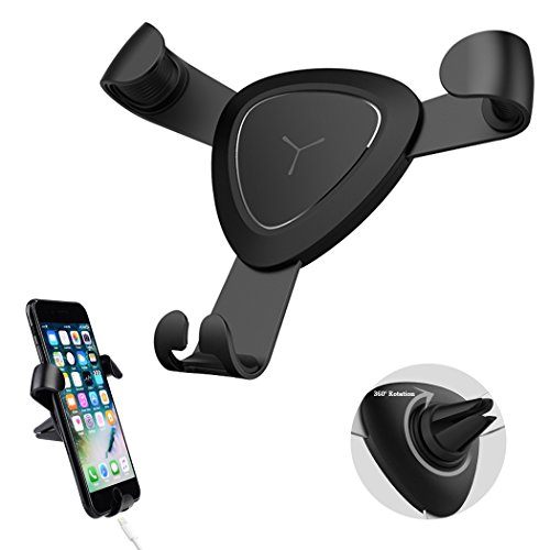 Car Phone Mount,Hongfa Universal Air Vent Car Mount Phone Holder with 360° Rotation for iPhone X 8/8 Plus / 7 / 6s Plus, SE, Samsung Galaxy S8 / S7 / S6 Edge/Note 8 and Other Smartphones(Black)
