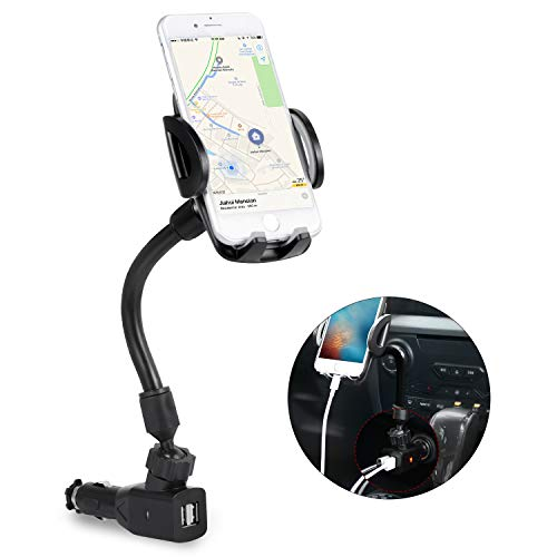 Amoner Car Mount, Upgraded Cigarette Lighter Car Phone Holder Cradle with Dual USB 2.1A Charge for iPhone X 8 7 SE 6S 6 Galaxy S10 S9 S8 S7 S6 S5 GPS and More