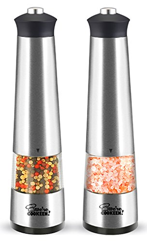 Electric Salt and Pepper Grinder Set | Battery powered | Stainless Steel (Pack of 2 electronic mills) | Adjustable Coarseness | Easy one hand use for children and elders | Lights and Caps