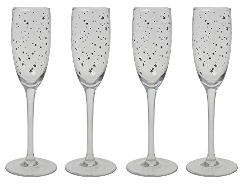 Warmfashion Home Celebrating Silver Star Flute Glasses 5.3oz -Set of 4 Perfect for Any Occasion,Great Gift for any event