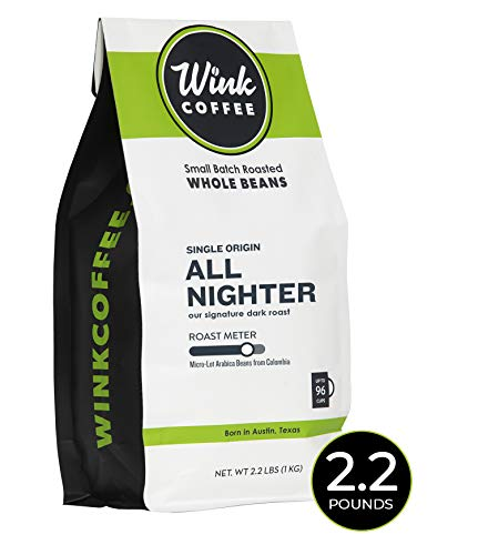 Wink Coffee All Nighter Colombia Dark Roast Whole Bean Coffee, Large 2.2 Pound Bag, 100% Arabica Coffee Beans, Single Origin, Rich, Smooth, Full Bodied and Complex, Sustainable