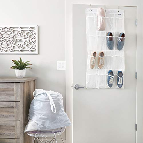iDesign InterDesign Non-Woven Fabric Hanging Closets-White/Clear, Shoe Organizer-Over The Door