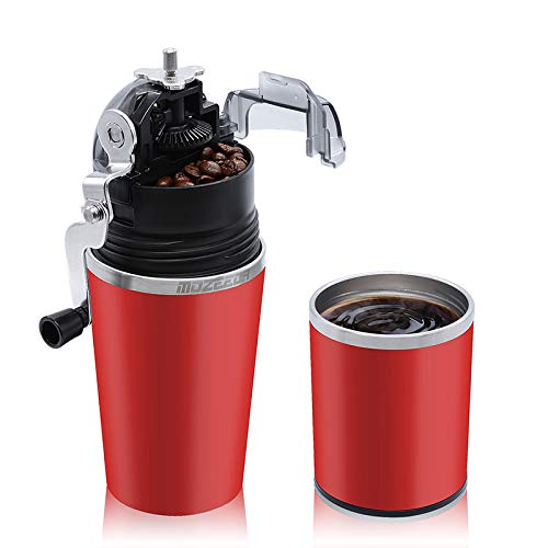 MOZEEDA Portable Manual Coffee Grinder, 2-in-1 Stainless Steel Coffee Maker with Filter for Travel Camping Office Outdoors