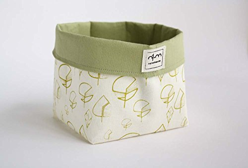 Bin in ecru cotton for storage or table leaves hand-printed in green