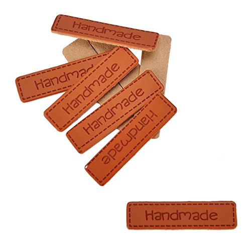 """HOUSWEETY 10pcs""""Handmade"""" Embossed Tag for Sewing & Craft DIY"""