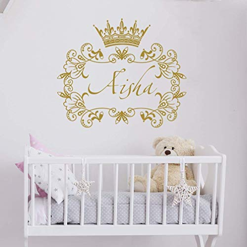 Girls Name Wall Decal Princess Crown Wall Sticker Frame Wall Vinyl Sticker Nursery Personalized Name. Nursery Wall Decor. Baby Girl Name Wall Decal kp13
