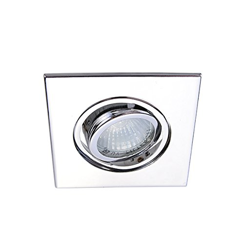 """3"""" Can Light Trim Recessed Light, Adjustable Square Gimbal Ring, All Chrome for Both Line/Low Voltage Eco Lighting NY HLV3006CH"""