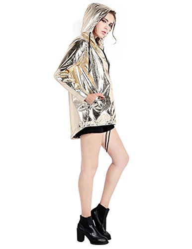 HaoDuoYi Womens Zipper Up Baseball Jacket Gold Bomber Jacket(L,Gold)