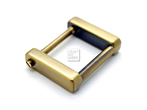 CRAFTMEmore Rectangular SCREW Rings Buckle Strap Connector Purse Hardware Bag Loop 4 pcs 3/4 or 1 Inch (1 Inch, Brushed Gold (Bronze))