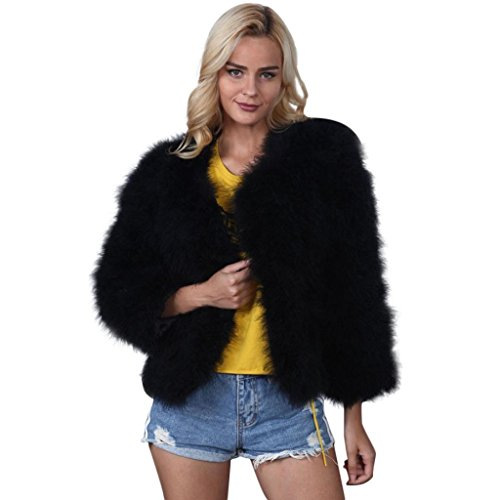 Creazrise Women Faux Fur Ostrich Feather Soft Fur Jacket Fluffy Winter Coat (XL, White)